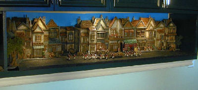 bookcase miniature buildings