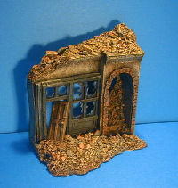 destroyed miniature buildings