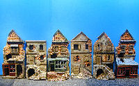 miniature destroyed buildings