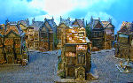 miniature row house buildings